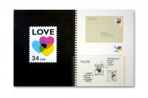 Heart shaped artwork with stamps